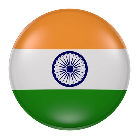 3d rendering of India button with flag on white background Stock Photo