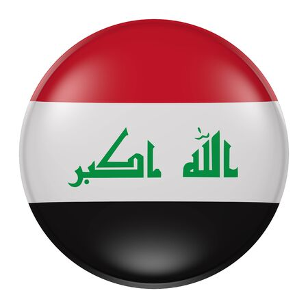 iraqi: 3d rendering of Iraq button with flag on white background Stock Photo
