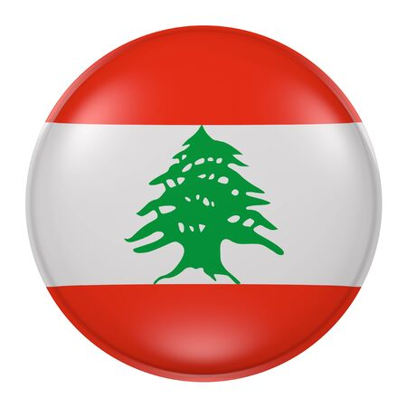 lebanese: 3d rendering of Lebanon button with flag on white background Stock Photo