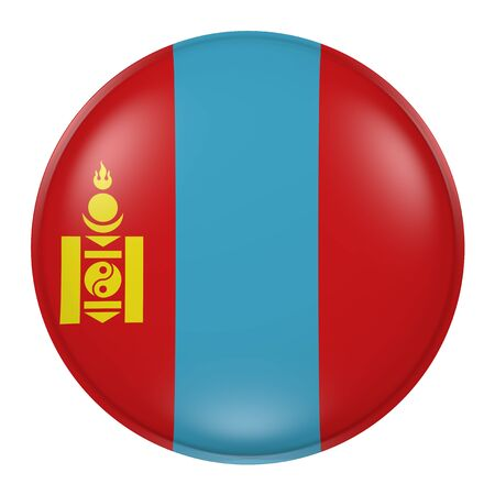 mongolia: 3d rendering of Mongolia button with flag on white background Stock Photo