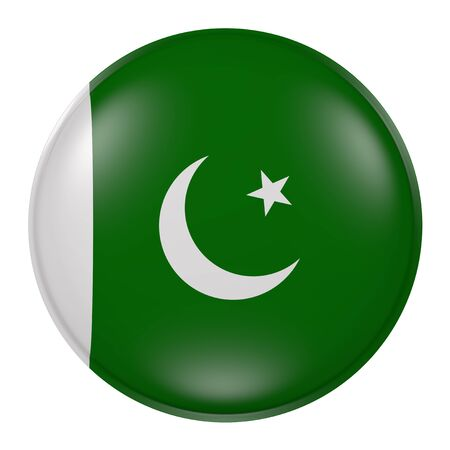 flag of pakistan: 3d rendering of Pakistan button with flag on white background