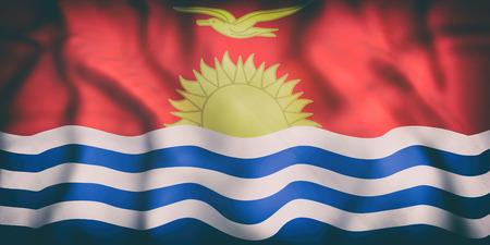 3d rendering of  an old Republic of Kiribati flag waving Stock Photo