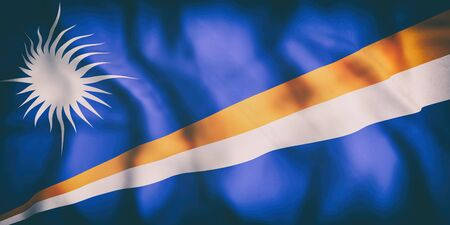 3d rendering of an old Republic of the Marshall Islands flag waving Stock Photo