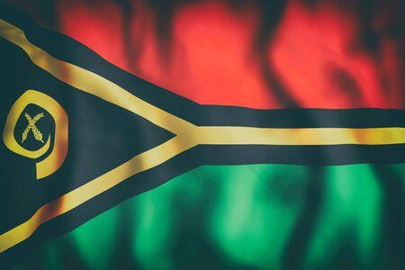 3d rendering of an old Republic of Vanuatu flag waving Stock Photo