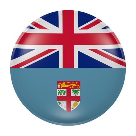3d rendering of a Fiji flag on a button Stock Photo