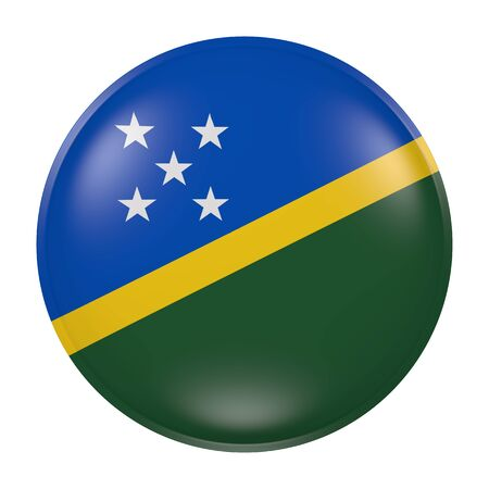 3d rendering of a Solomon Islands  flag on a button Stock Photo