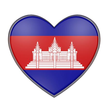 cambodian: 3d rendering of a Cambodia flag on a heart. White background