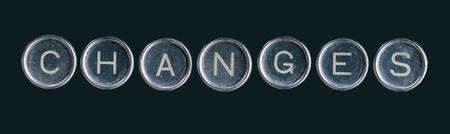 rusty: La palabra cambia con los botones de la máquina de escribir aislados en negro. Foto de archivo