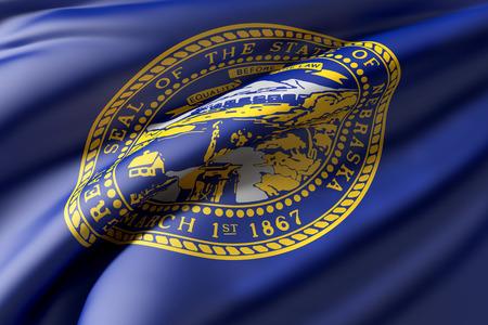3d rendering of a Nebraska State flag waving Stock Photo