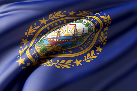 concord: 3d rendering of a New Hampshire State flag waving Stock Photo