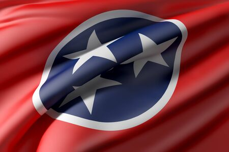 3d rendering of a Tennessee State flag waving