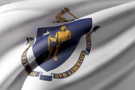 3d rendering of a Massachusetts State flag waving