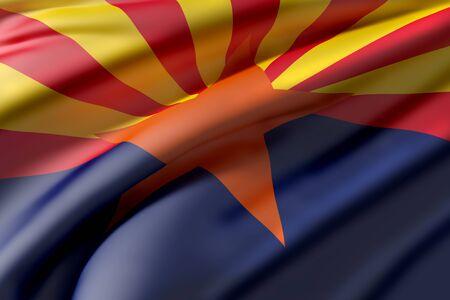 3d rendering of an Arizona State flag waving