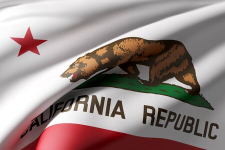 3d rendering of a California State flag waving Stock Photo