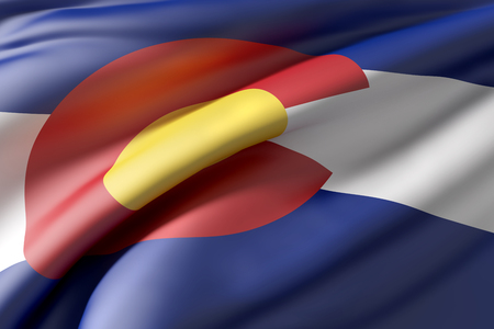 3d rendering of a Colorado State flag waving Stock Photo