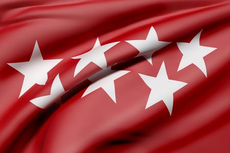 マドリードのコミュニティの旗の 3d レンダリング 写真素材