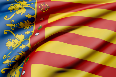 3d rendering of a Valencian Community flag waving Stock Photo - 74277826