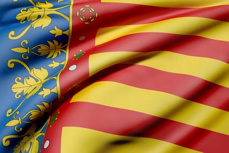 3D-weergave van een Valencia vlag van de Gemeenschap golven
