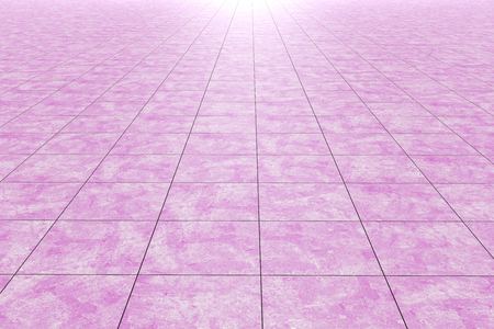 3d rendering of a close-up of pink checked glazed tile floorwall Stock Photo