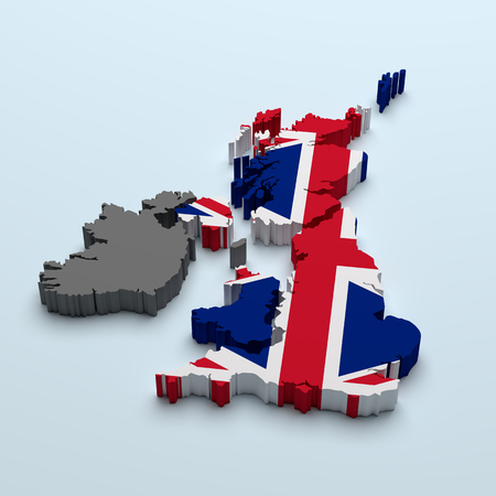 3d rendering of an uk map with a flag stamped Stock Photo
