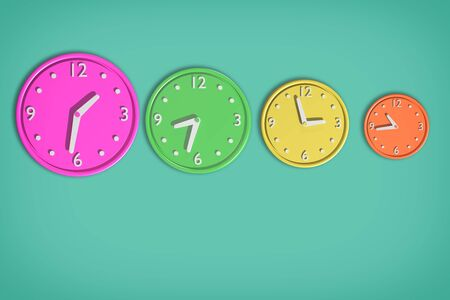3d rendering of a composition with a lot of colored clocks on green background: Its a JPG image.