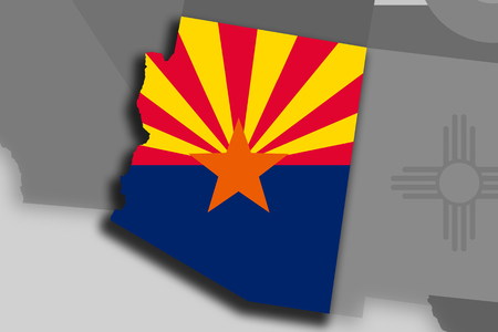 Illustration of the State of Arizona silhouette map and flag. Its a JPG image. Stock Photo