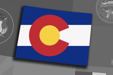 Illustration of the State of Colorado silhouette map and flag. Its a JPG image. Stock Photo