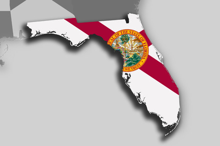 Illustration of the State of Florida silhouette map and flag. Its a JPG image.