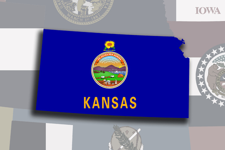 Illustration of the State of Kansas silhouette map and flag. Its a JPG image.