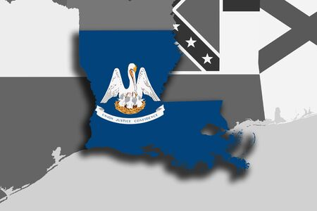 baton rouge: Illustration of the State of Louisiana silhouette map and flag. Its a JPG image. Stock Photo