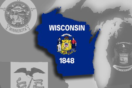 Illustration of the State of Wisconsin silhouette map and flag. Its a JPG image.