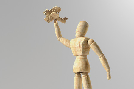 3d rendering of wooden mannequin toy prototype of human with a plane in the hand