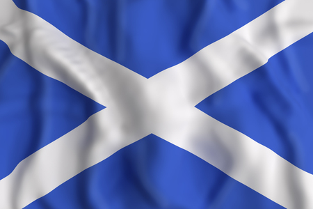 3d rendering of a Scotland flag waving