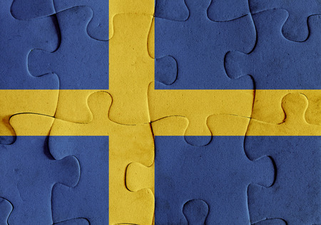 Illustration of a flag of Sweden over some puzzle pieces. Its a JPG image. Stock Illustration - 75582336