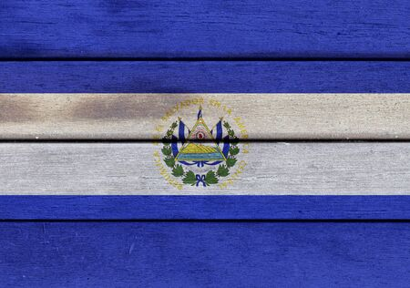 the americas: Illustration of Republic of El Salvador flag over a wooden textured surface