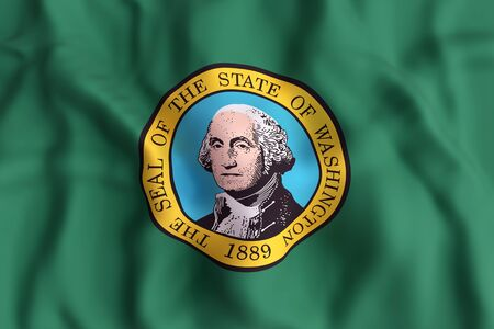 3d rendering of a Washington State flag