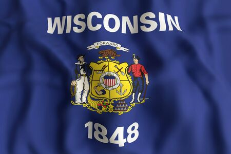 3d rendering of a Wisconsin State flag