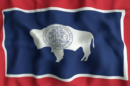 ワイオミング州の旗の 3d レンダリング