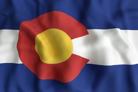 3d rendering of a Colorado State flag. Фото со стока