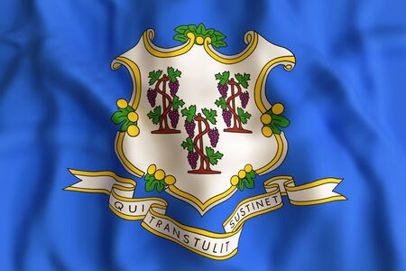 3d rendering of a Connecticut State flag.