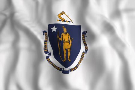 3d rendering of a Massachusetts State flag