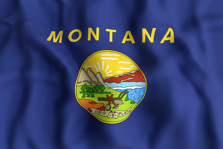 helena: 3d rendering of a Montana State flag.