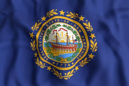 concord: 3d rendering of a New Hampshire State flag Stock Photo