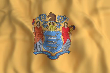 3D-weergave van een vlag van New Jersey