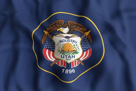 3d rendering of an Utah State flag Stock Photo