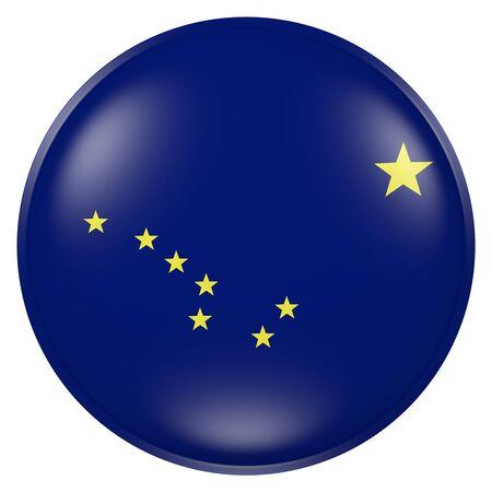 ボタンにアラスカ州旗の 3 d レンダリング 写真素材
