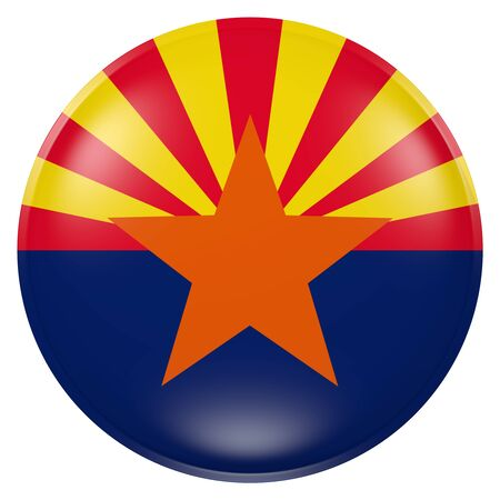 3d rendering of  Arizona State flag on a button Stock Photo