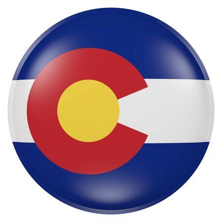 ボタンにコロラド州旗の 3 d レンダリング