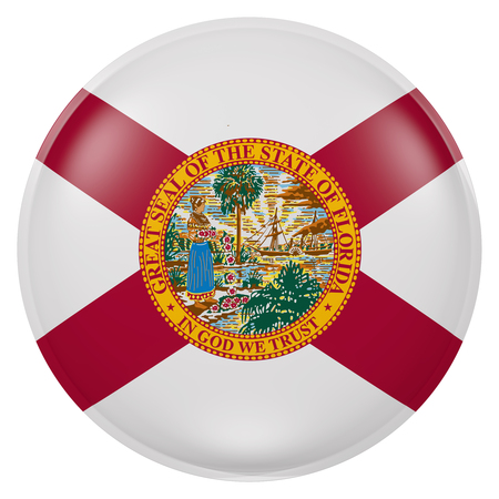 3d rendering of  Florida State flag on a button