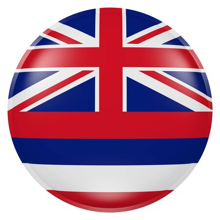 3d rendering of  Hawaii State flag on a button